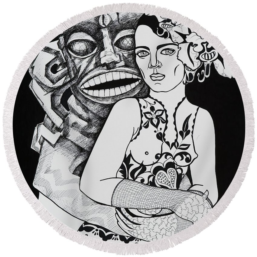 Surreal Round Beach Towel featuring the drawing Fetish Girl by Yelena Tylkina