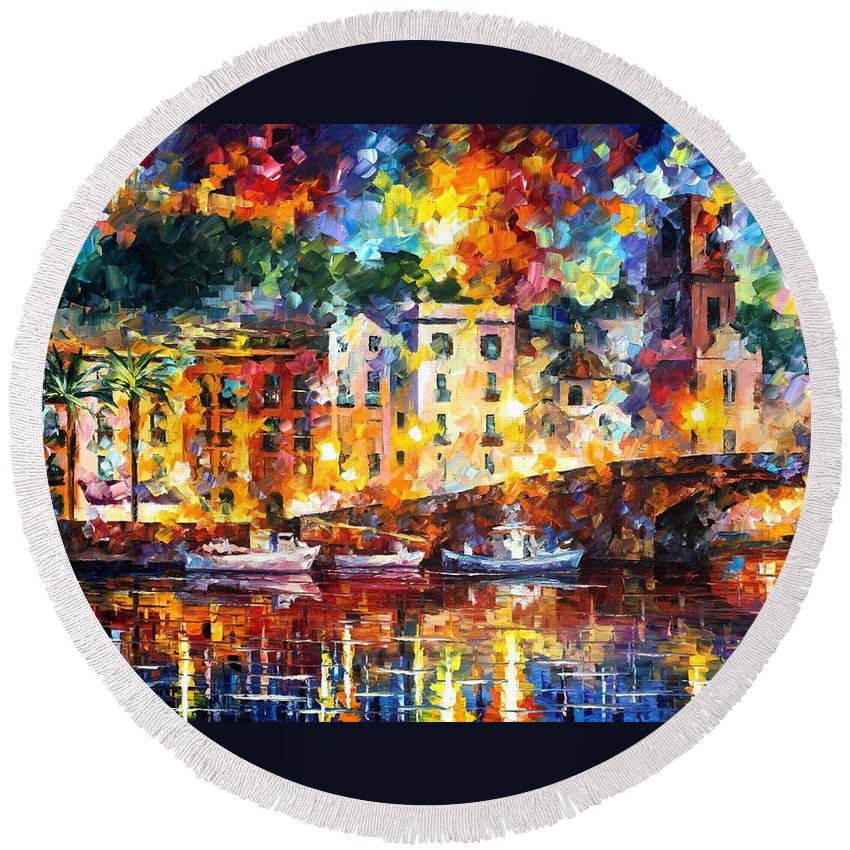 Oil Paintings Round Beach Towel featuring the painting Few Boats - Palette Knife Oil Painting On Canvas By Leonid Afremov by Leonid Afremov