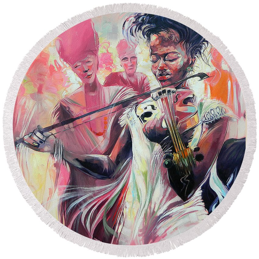 Violinist Round Beach Towel featuring the painting Fiddle Princess by Said Oladejo-lawal