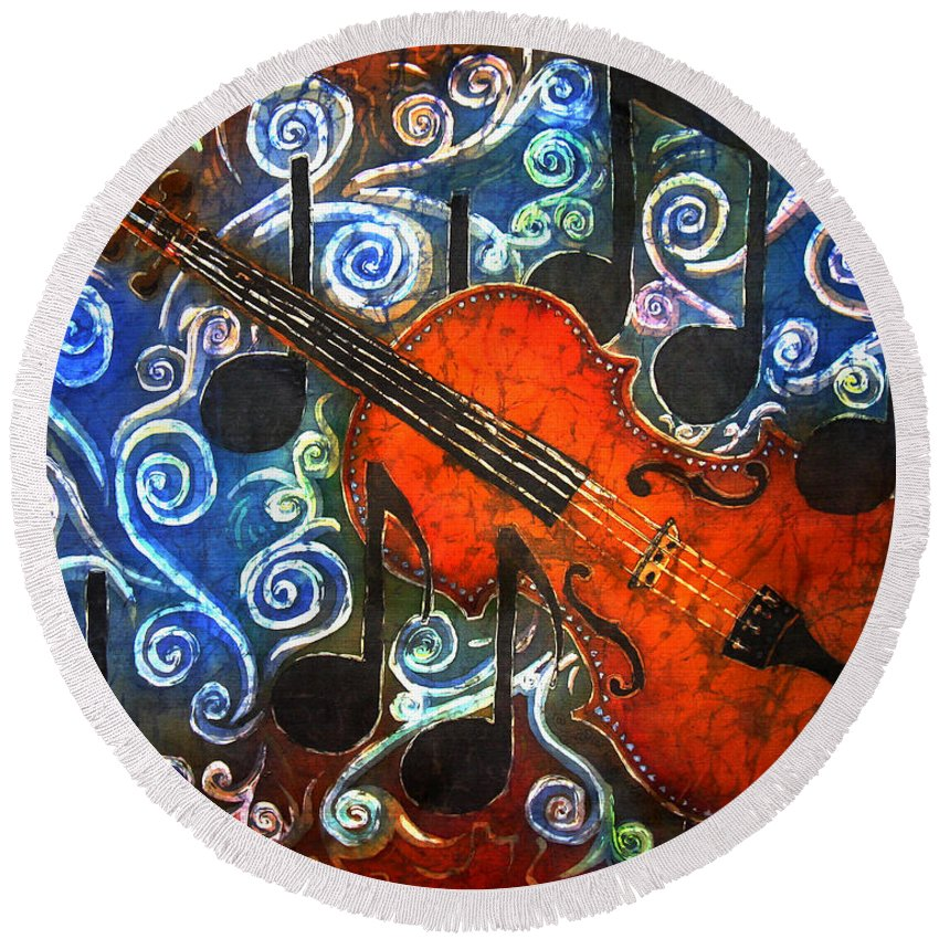 Fiddle Round Beach Towel featuring the painting Fiddle - Violin by Sue Duda
