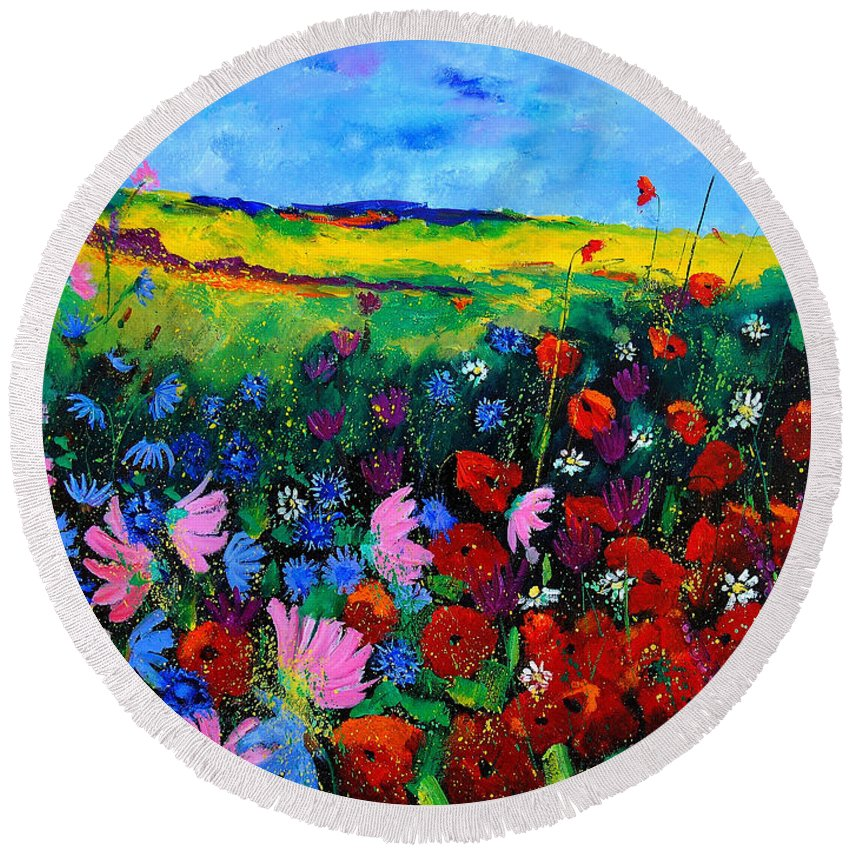 Poppies Round Beach Towel featuring the painting Field Flowers by Pol Ledent