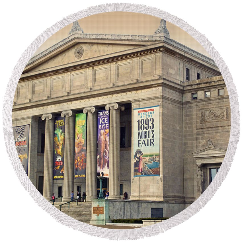 Chicago Round Beach Towel featuring the photograph Field Museum South Facade by Thomas Woolworth