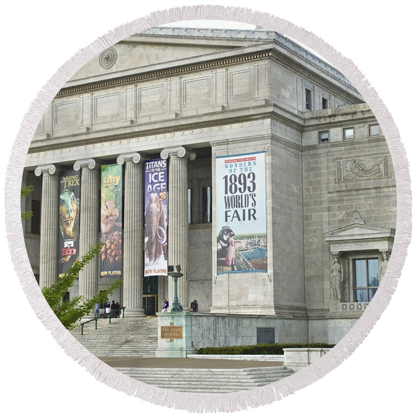 Chicago Round Beach Towel featuring the photograph Field Museum Southside Facade by Thomas Woolworth