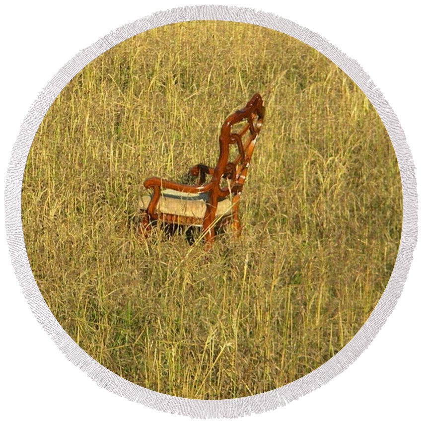 Chair Round Beach Towel featuring the photograph Field Of Chair by Nathanael Smith