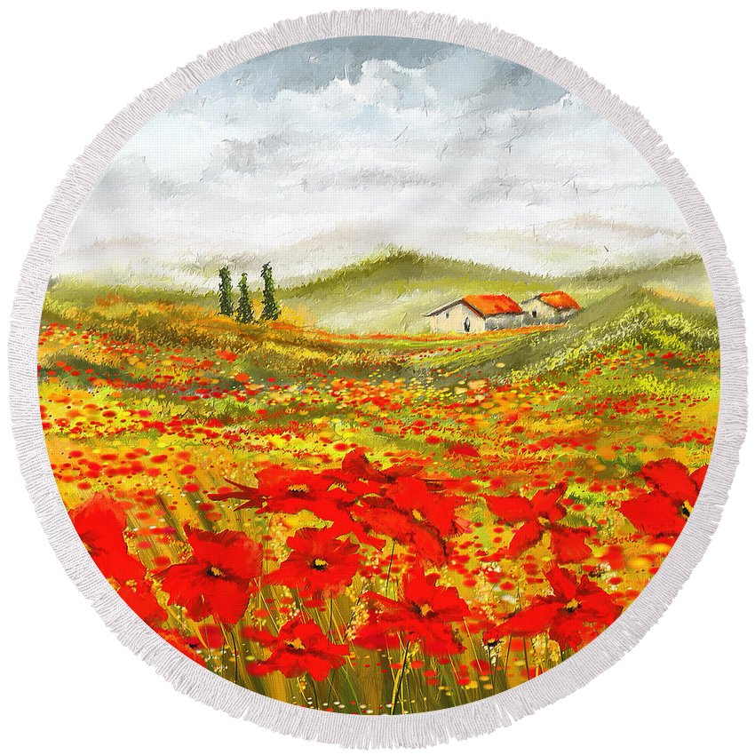 Poppies Round Beach Towel featuring the painting Field Of Dreams - Poppy Field Paintings by Lourry Legarde