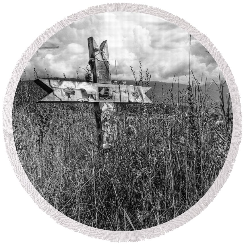 Graveyard Round Beach Towel featuring the photograph Field Of Faith by The Artist Project