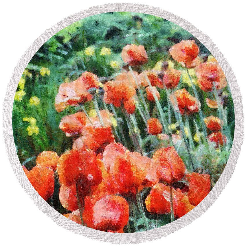 Canadian Round Beach Towel featuring the painting Field Of Flowers by Jeffrey Kolker