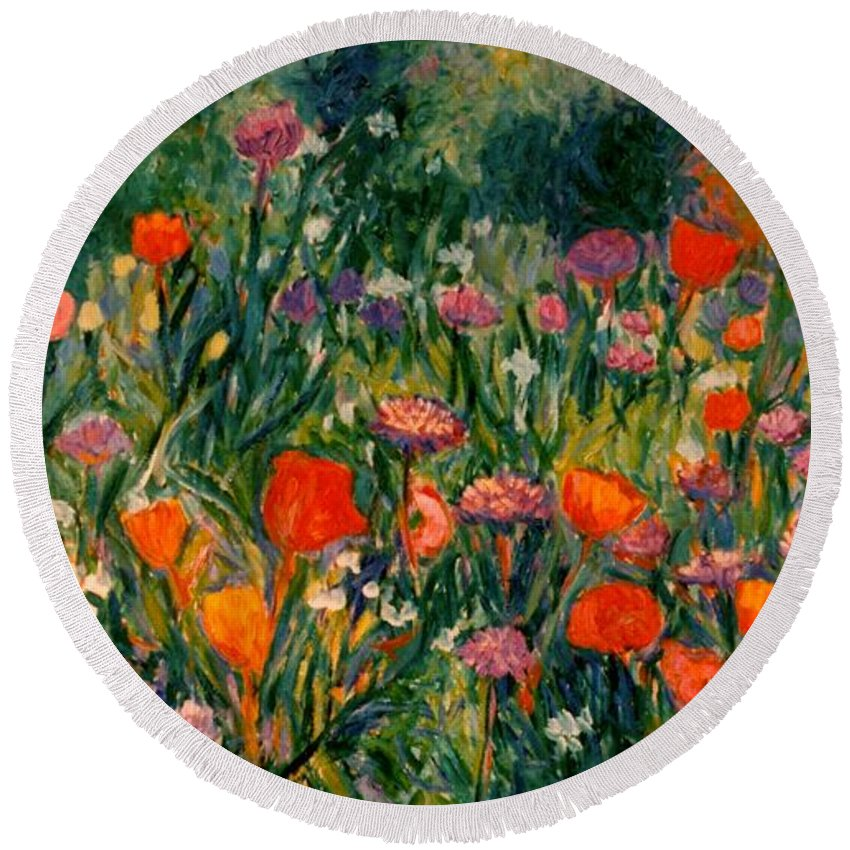 Flowers Round Beach Towel featuring the painting Field Of Flowers by Kendall Kessler
