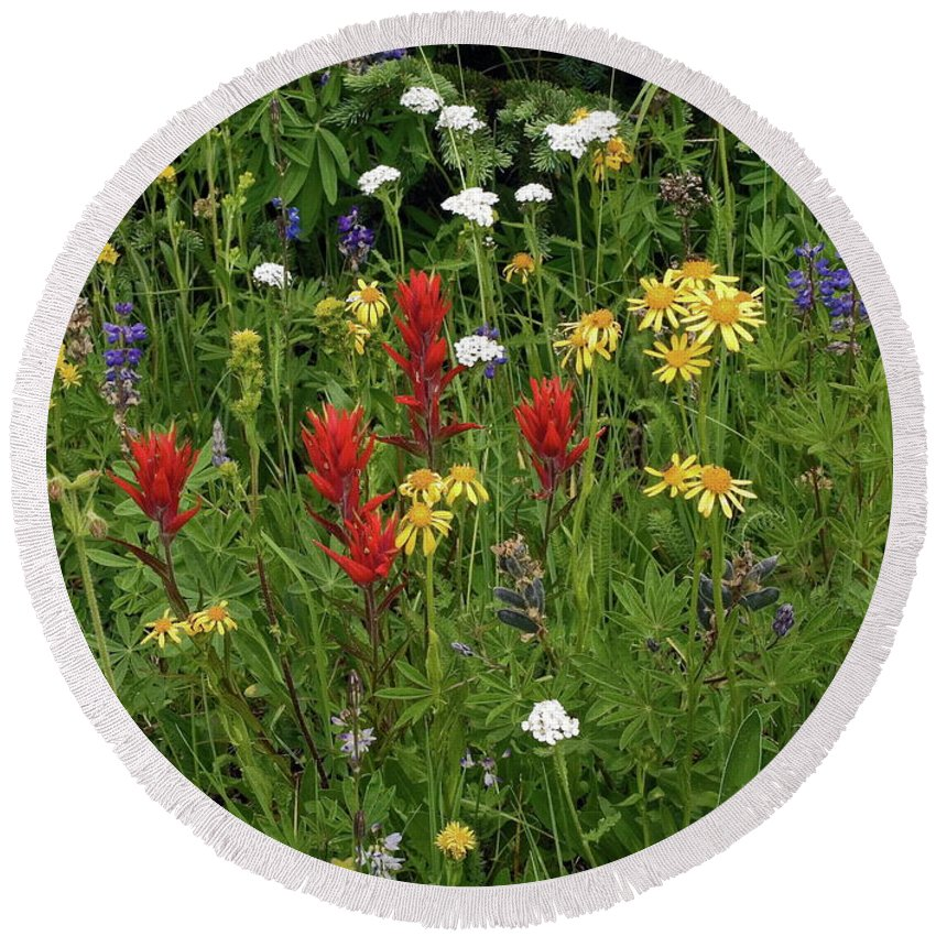 Field Of Wildflowers Round Beach Towel featuring the photograph Field Of Multicolor Wildflowers by Sally Weigand
