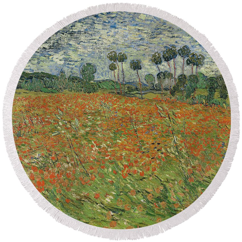 Landscape Round Beach Towel featuring the painting Field Of Poppies, Auvers-sur-oise, 1890 by Vincent van Gogh