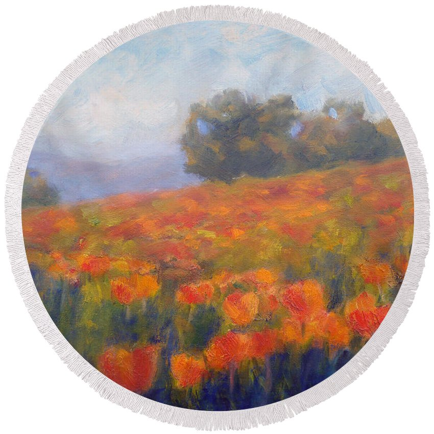 Field Of Poppies Round Beach Towel featuring the painting Field Of Poppies by Carolyn Jarvis