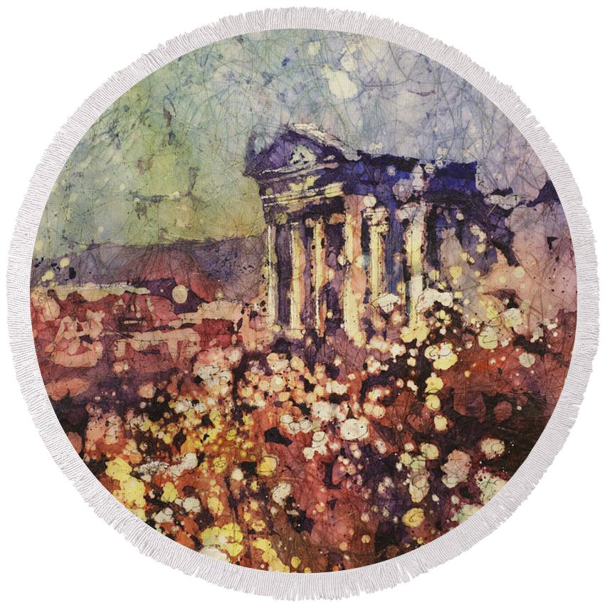 Round Beach Towel featuring the painting Fields Of Flower- And Roman Temple by Ryan Fox