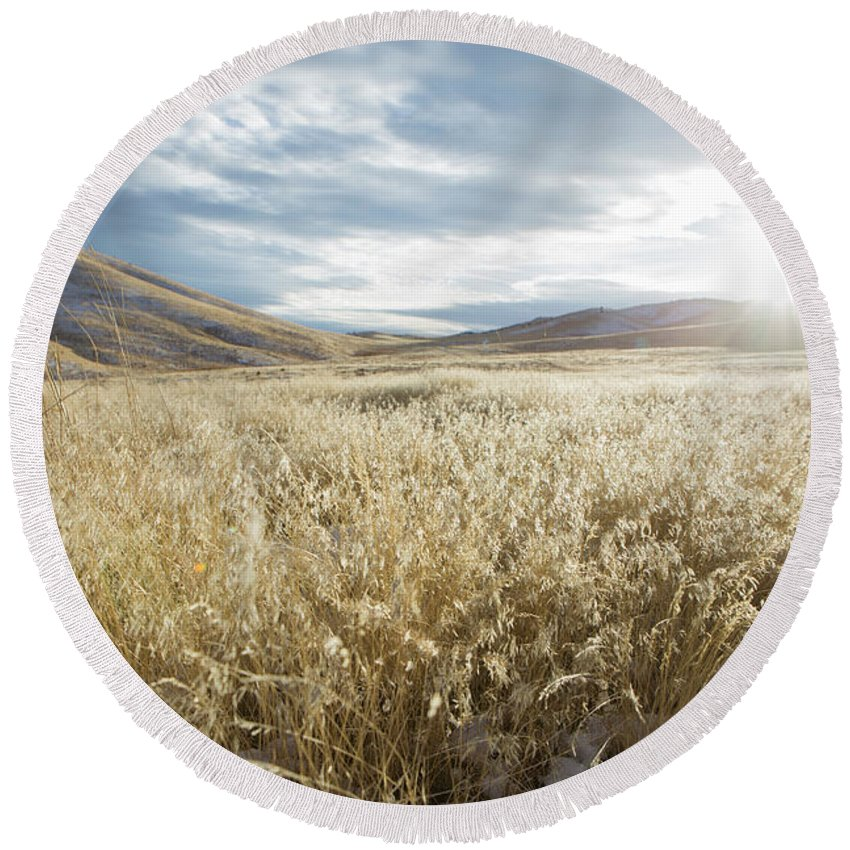 Horizontal Round Beach Towel featuring the photograph Fields Of Grass In Nevada Desert by Michael Okimoto