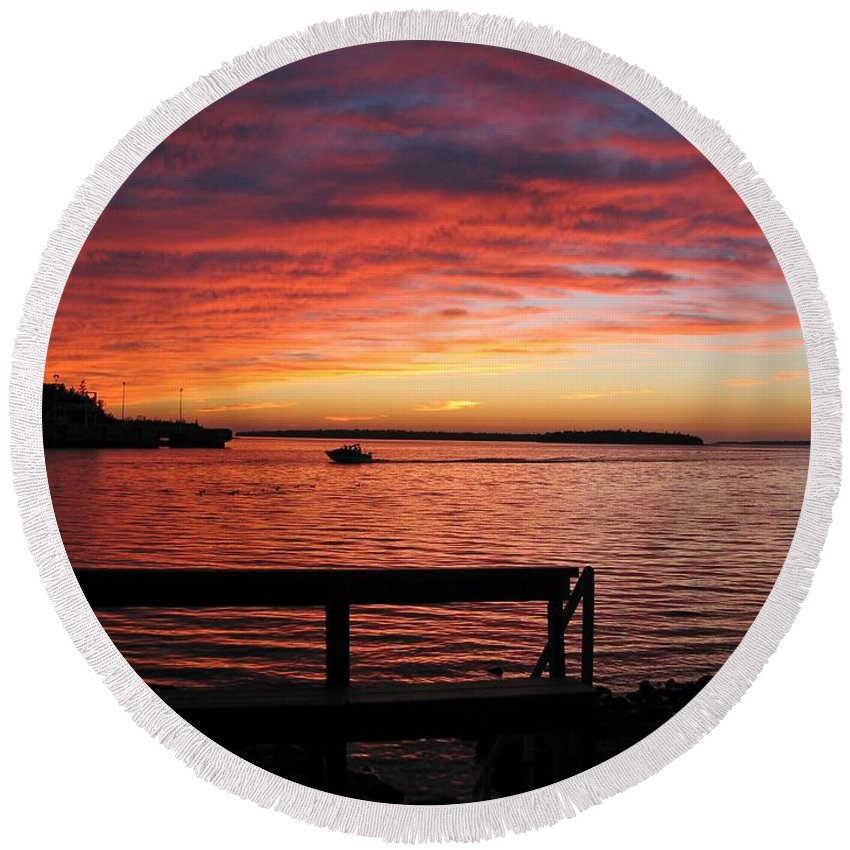 Sunset Round Beach Towel featuring the photograph Fiery Afterglow by Ann Horn