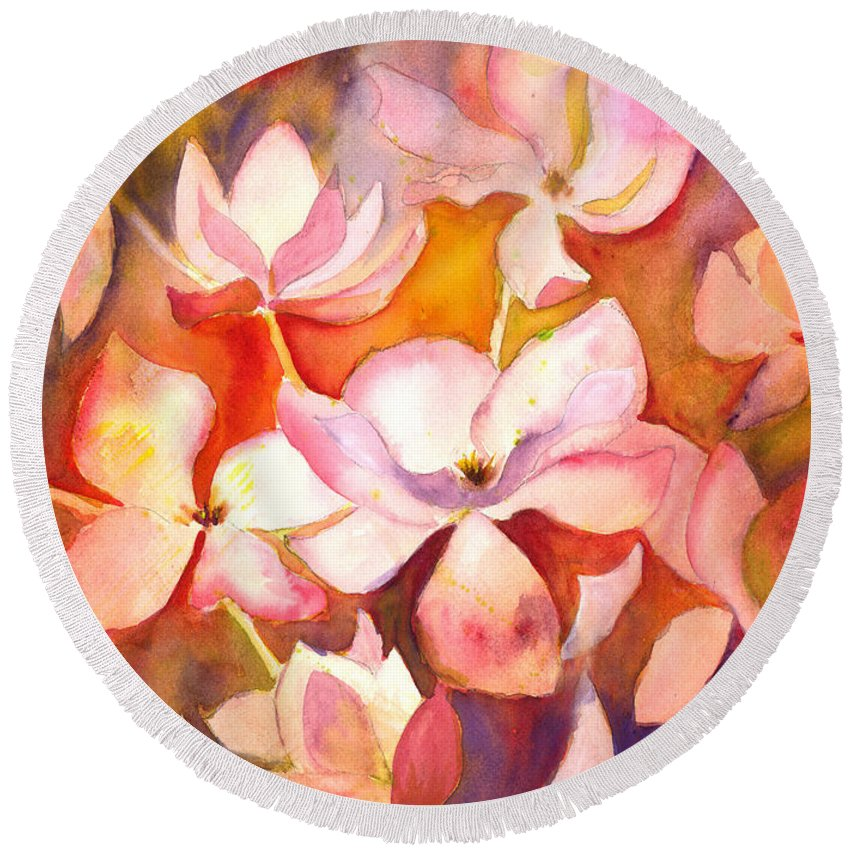 Watercolor Painting Round Beach Towel featuring the painting Fiery Magnolias by Kelly Perez