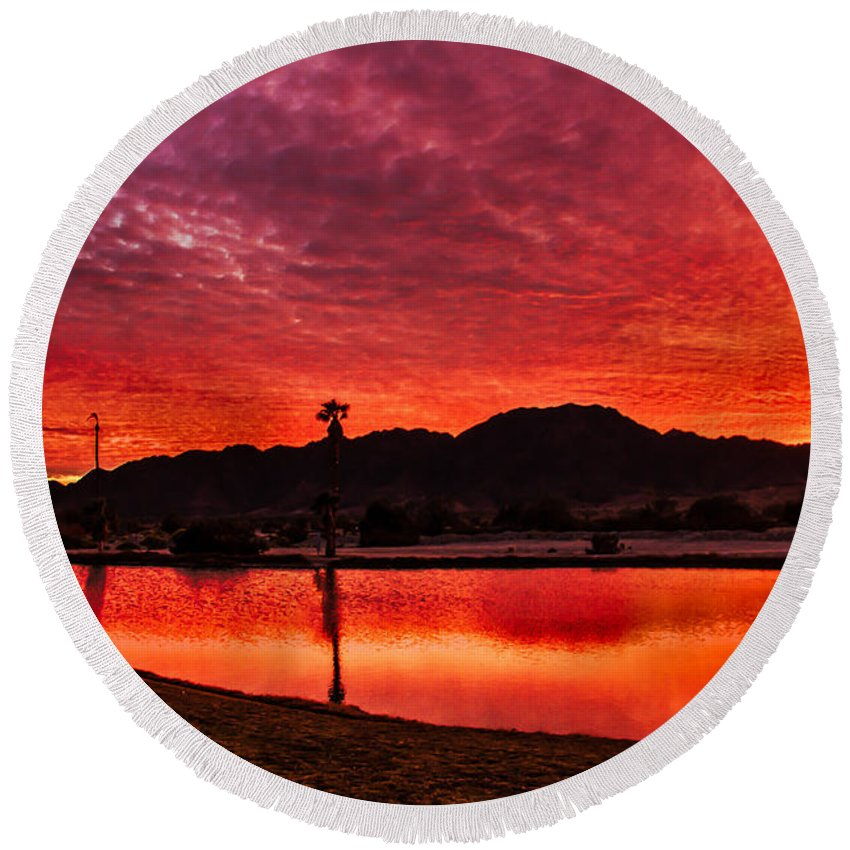 Sunset Round Beach Towel featuring the photograph Fiery Sunrise by Robert Bales