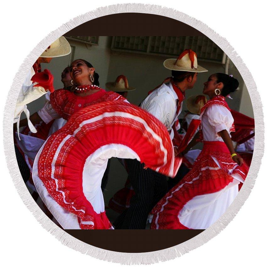 Dancers Round Beach Towel featuring the photograph Fiesta De Los Mariachis by Joe Kozlowski