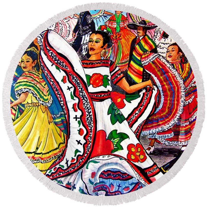 Spanish Dance Round Beach Towel featuring the drawing Fiesta Parade by Marilyn Smith
