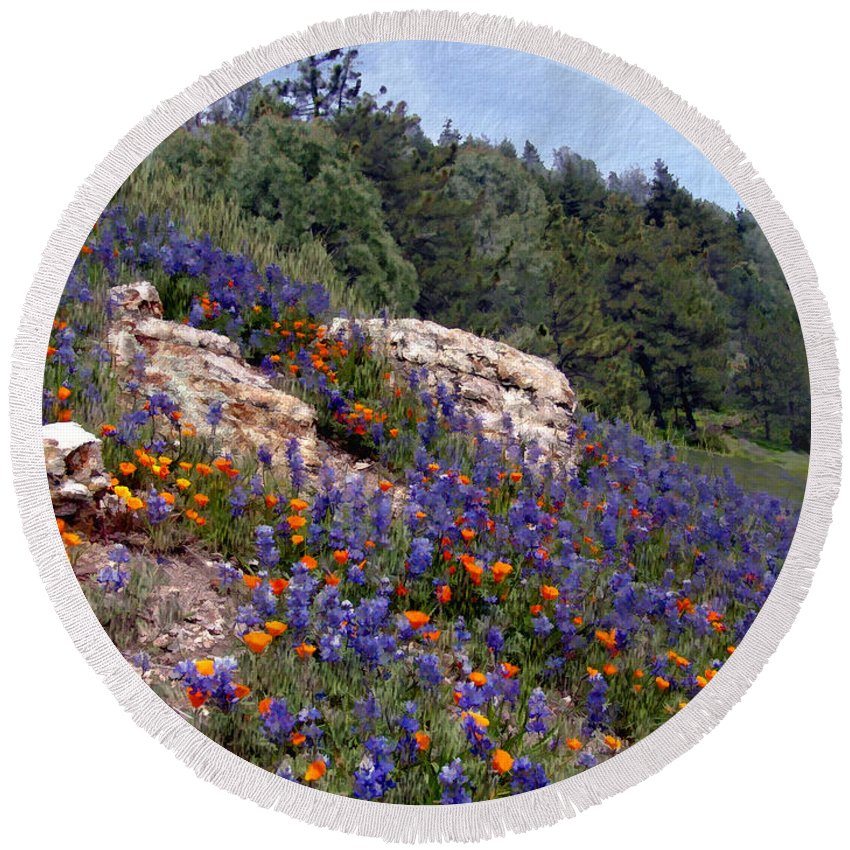 Flowers Round Beach Towel featuring the photograph Figueroa Mountain Splendor by Kurt Van Wagner