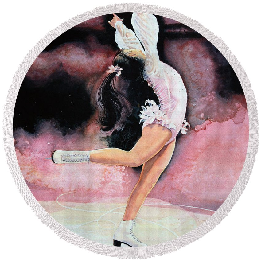 Childrens Book Illustrator Round Beach Towel featuring the painting Figure Skater 20 by Hanne Lore Koehler