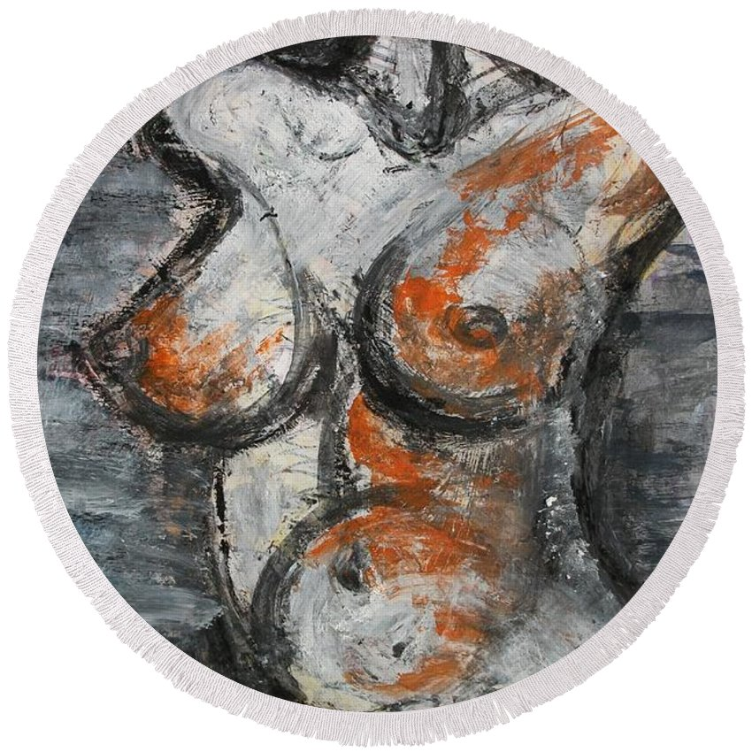 Female Round Beach Towel featuring the painting Figure2 by Carmen Tyrrell