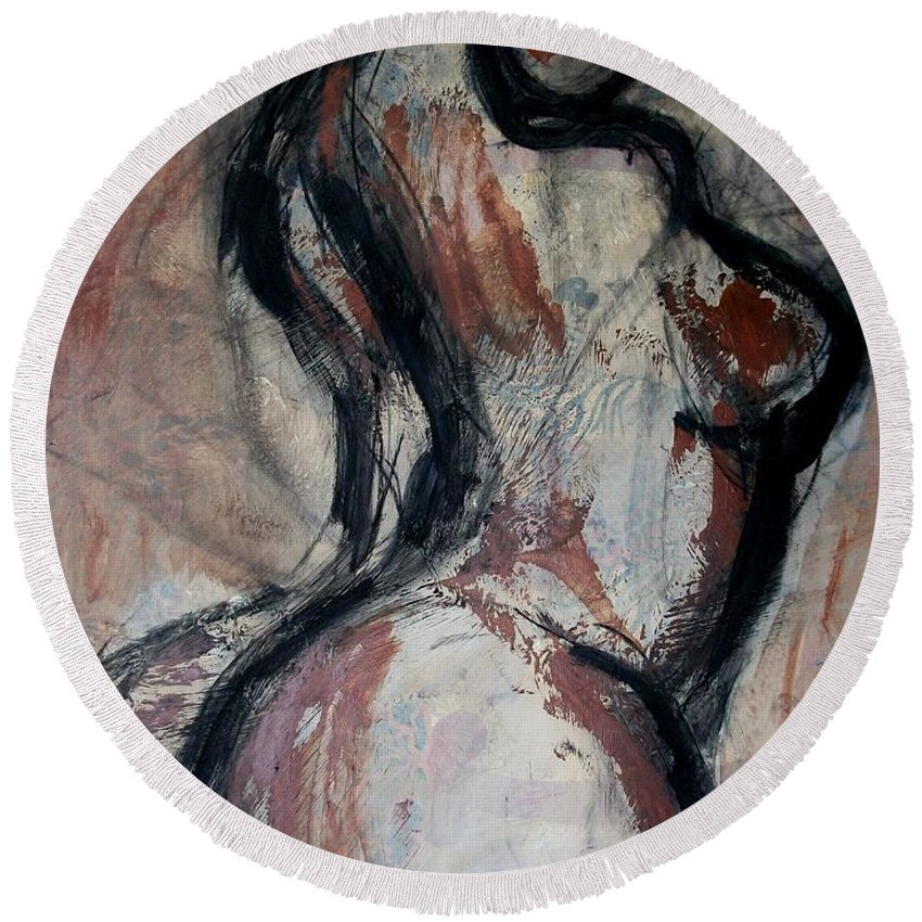Original Round Beach Towel featuring the painting Figure3 - Nudes Gallery by Carmen Tyrrell