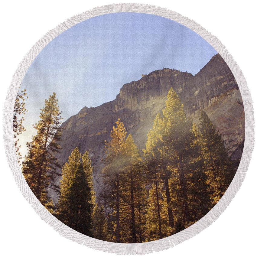 Yosemite Round Beach Towel featuring the photograph Morning Skies Of Yosemite by Bryant Coffey