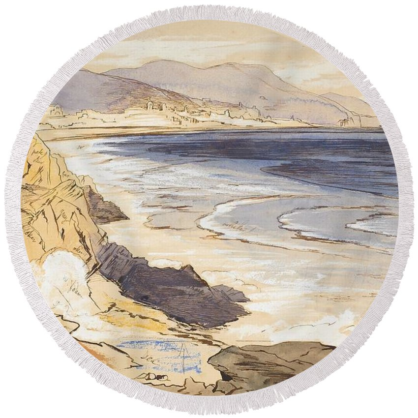 C19th Round Beach Towel featuring the painting Finale by Edward Lear