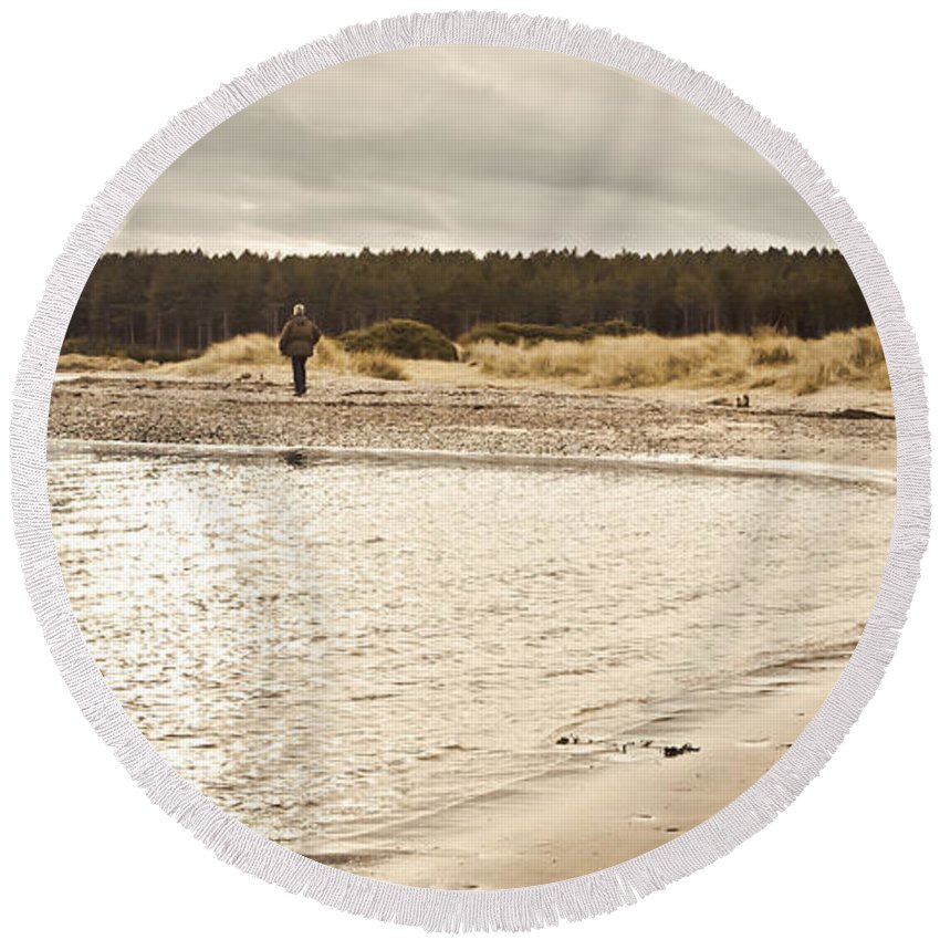 Alone Round Beach Towel featuring the photograph Findhorn Beach by Tom Gowanlock