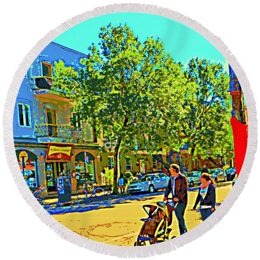 Montreal Round Beach Towel featuring the painting Fine Day For Baby Strollers And Bikes Art Of Montreal Street Scene Across Maitre Gourmet Cafe by Carole Spandau