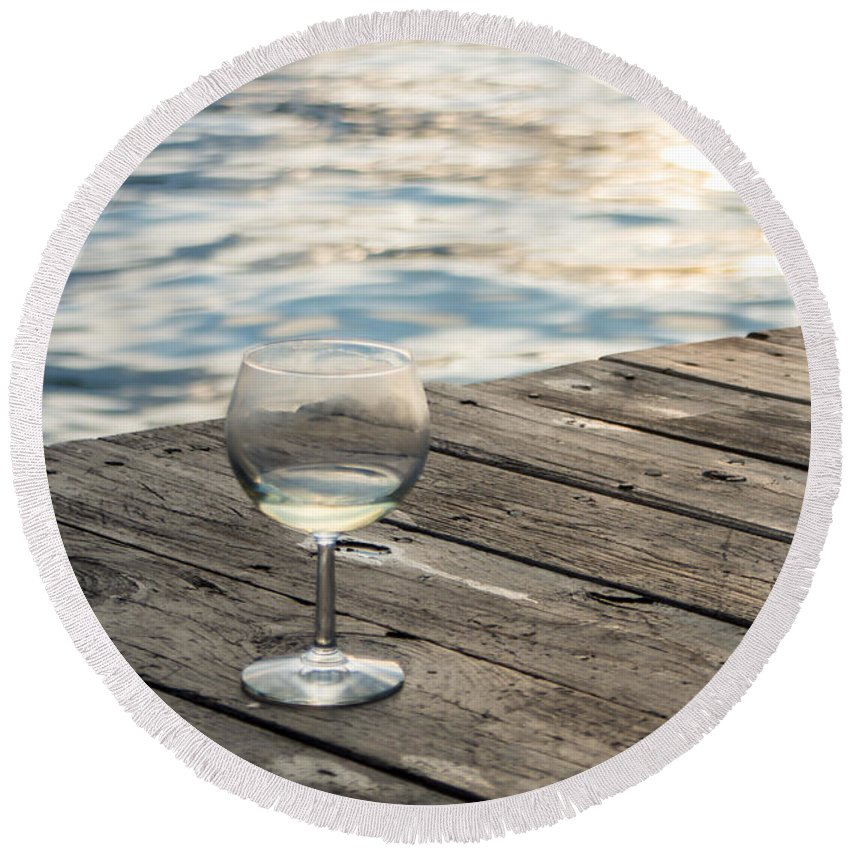 Glass Round Beach Towel featuring the photograph Finger Lakes Wine Tasting - Wine Glass On The Dock by Photographic Arts And Design Studio