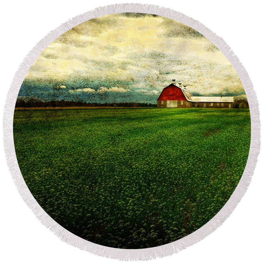 Barn Round Beach Towel featuring the photograph Finished by Lois Bryan
