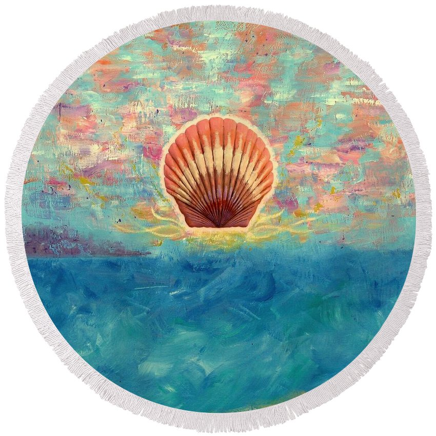 Scallop Shell Round Beach Towel featuring the painting Finisterra by Jeff Sartain