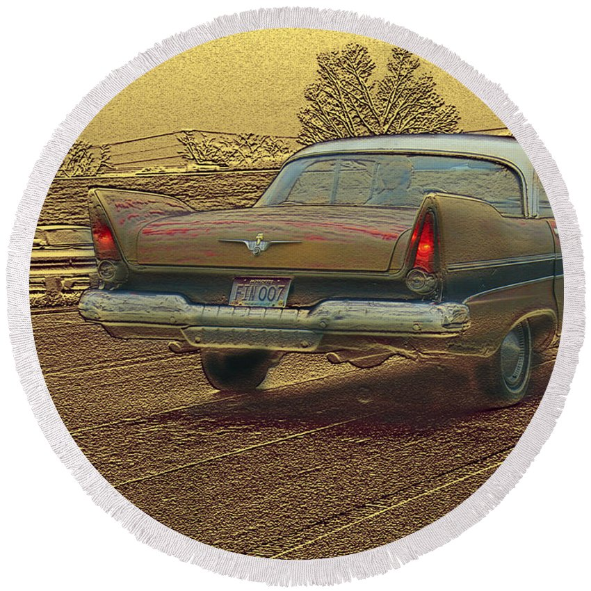 Cars Round Beach Towel featuring the mixed media Fins by Steve Karol