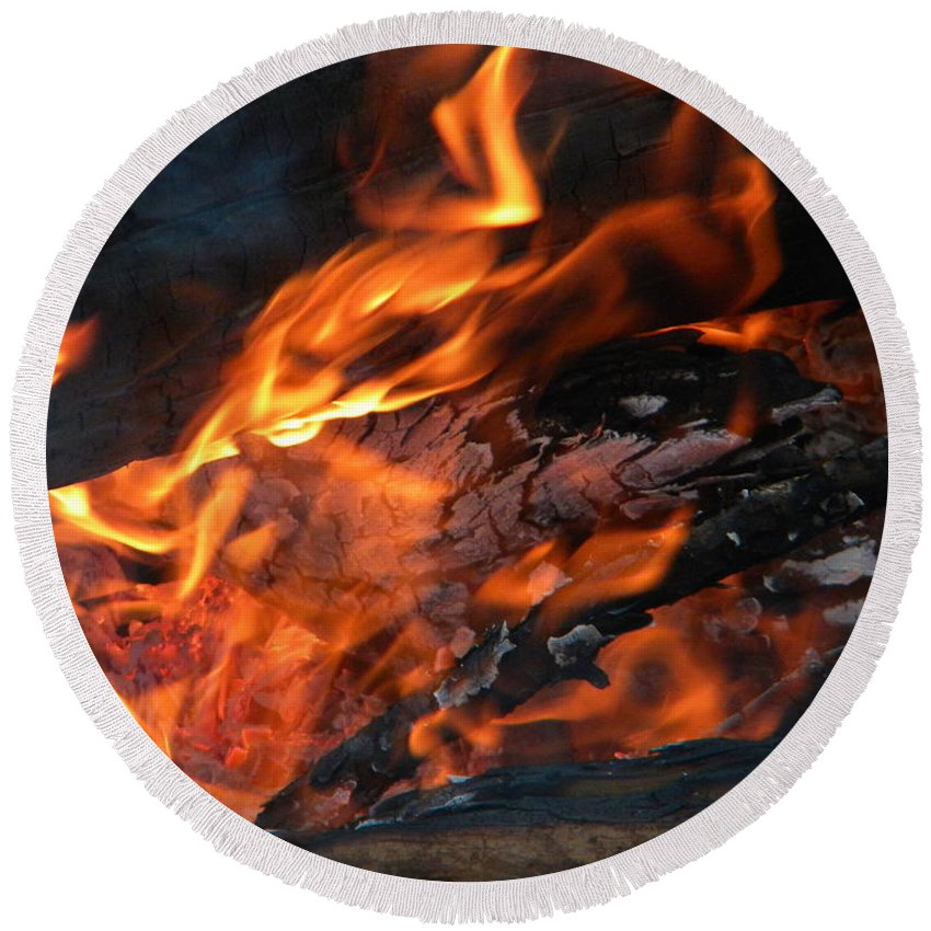 Flame Round Beach Towel featuring the photograph Fire 2 by Nathanael Smith