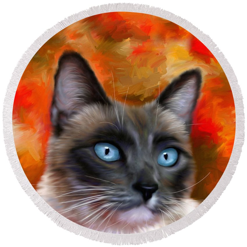 Siamese Round Beach Towel featuring the painting Fire And Ice - Siamese Cat Painting by Michelle Wrighton