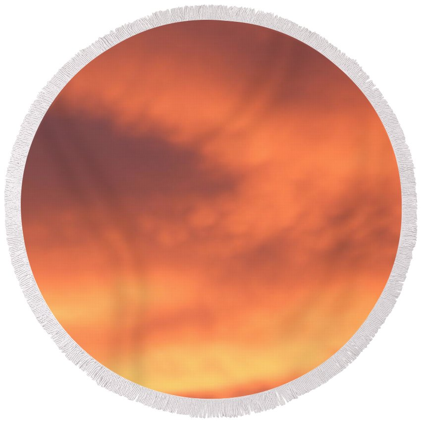 Sky Round Beach Towel featuring the photograph Fire Clouds by Joseph Baril