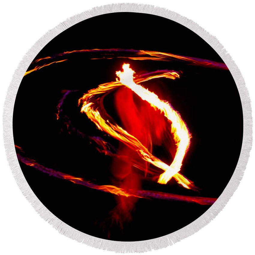 Fire Dancer Round Beach Towel featuring the photograph Fire Dancer 2 by Jim Thompson