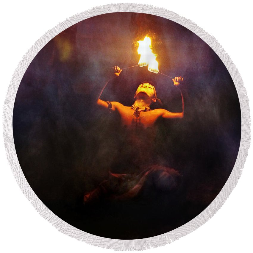 Fire Round Beach Towel featuring the photograph Fire Eater by Ian Gledhill