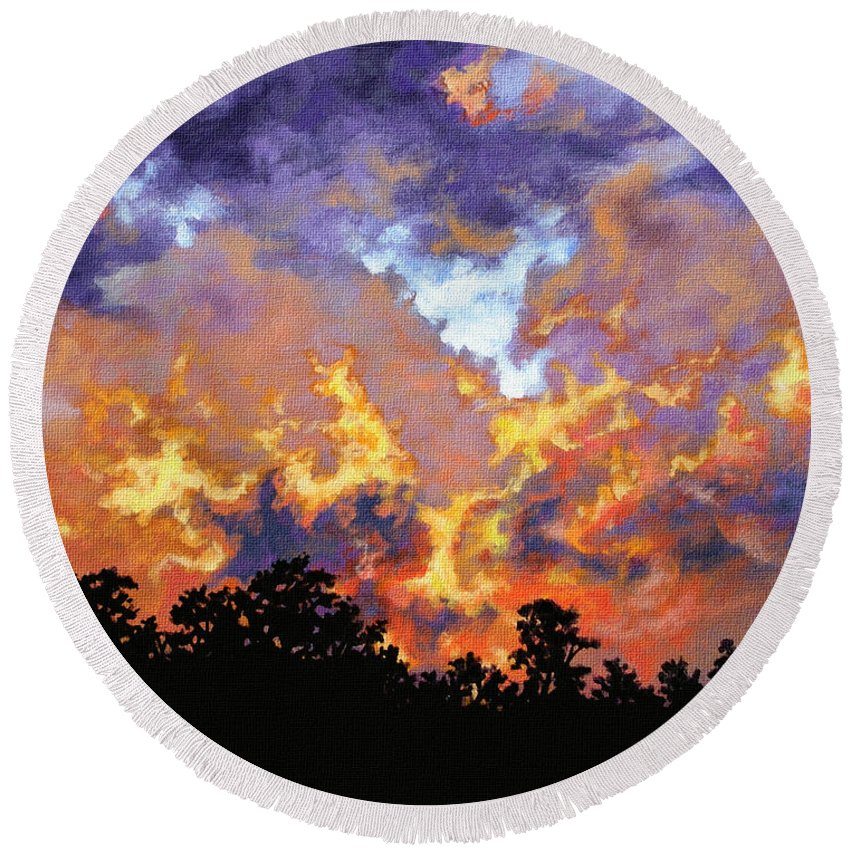 Sunset Round Beach Towel featuring the painting Fire In The Sky by Craig Burgwardt
