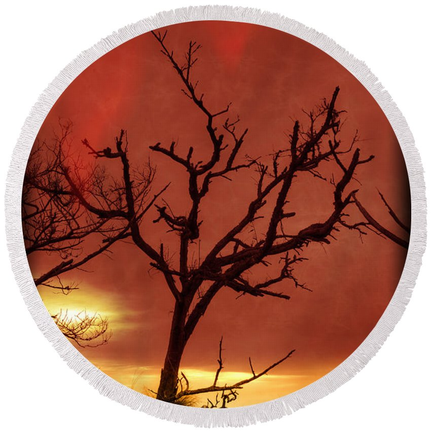 Clouds Round Beach Towel featuring the photograph Fire In The Sky by Debra and Dave Vanderlaan