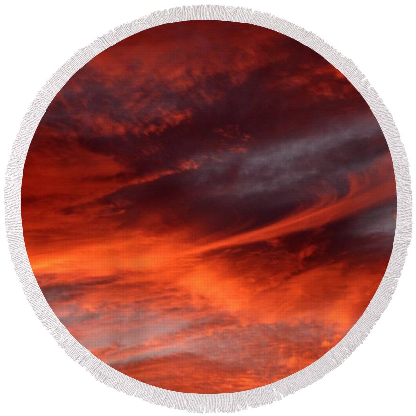 Sunset Round Beach Towel featuring the photograph Fire in the Sky by Julia Walsh