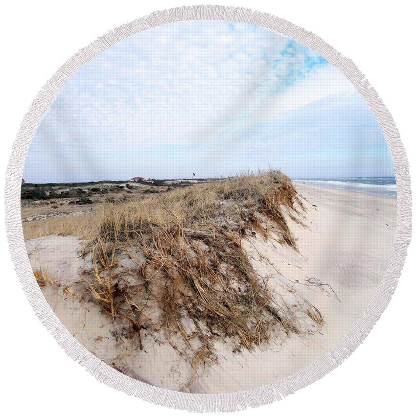 Fire Island Lighthouse Round Beach Towel featuring the photograph Fire Island Landscape by Ed Weidman