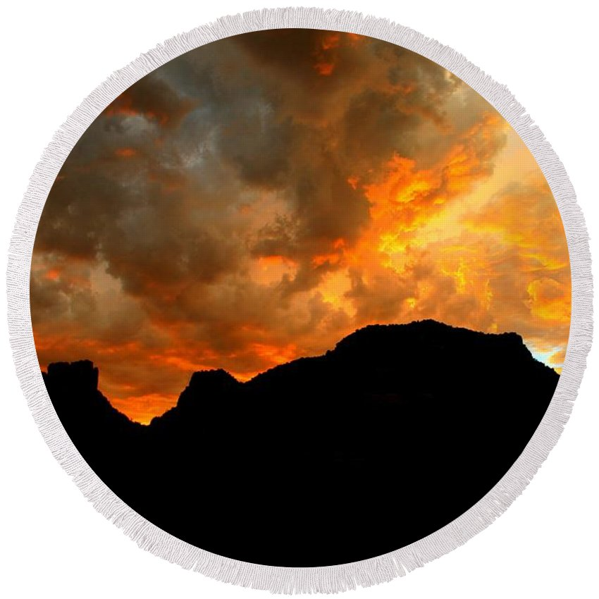Arizona Round Beach Towel featuring the photograph Fire Mountain by Miles Stites