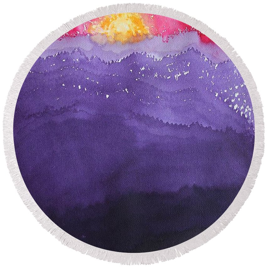 Fire Round Beach Towel featuring the painting Fire On The Mountain Original Painting by Sol Luckman