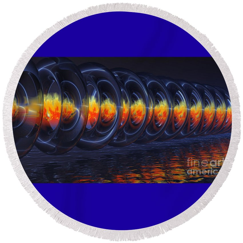 Alien Round Beach Towel featuring the digital art Fire Rings by Alan M Thwaites