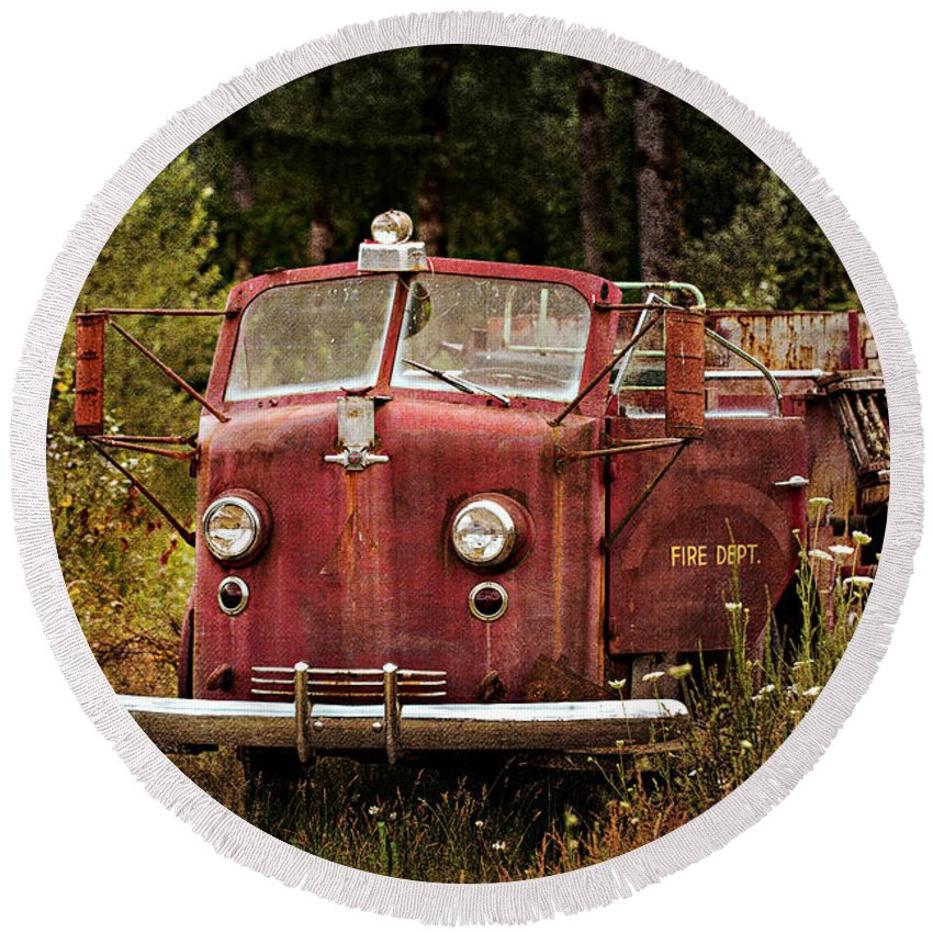 Old Fire Truck Round Beach Towel featuring the photograph Fire Truck With Texture by Mary Jo Allen