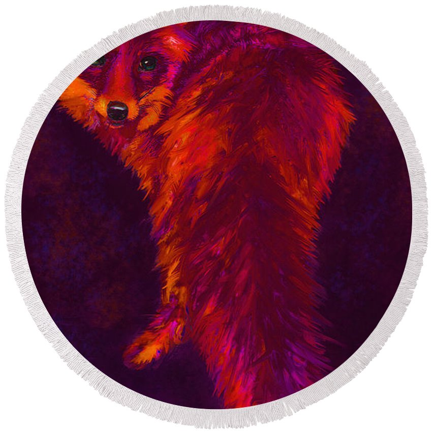Fox Round Beach Towel featuring the digital art Firefox by Jane Schnetlage