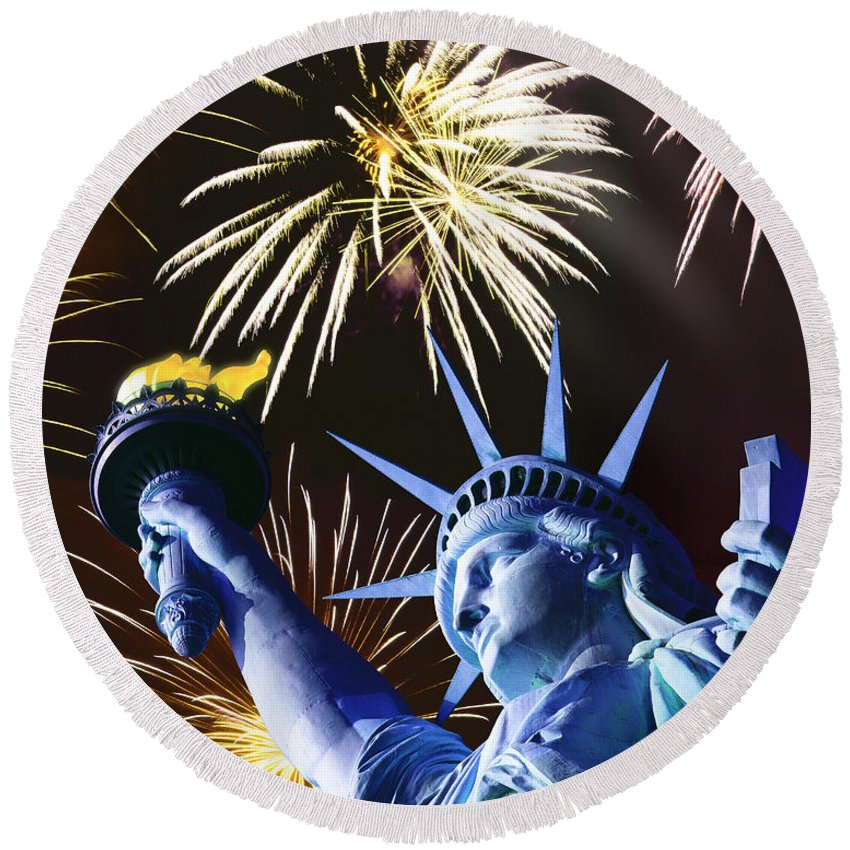 New York Round Beach Towel featuring the photograph Fires Of Liberty by Edmund Nagele