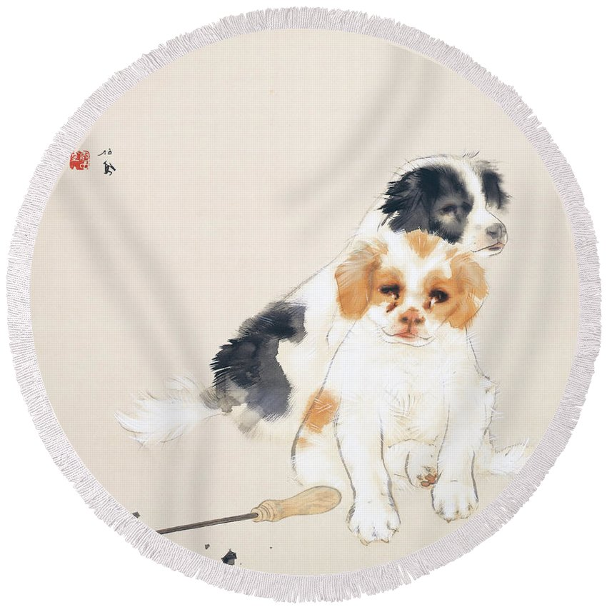 Takeuchi Seiho Round Beach Towel featuring the painting Fireside by Takeuchi Seiho